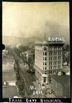 A view of Main Street, Clarksburg from Goff Building; Empire Bank building is on the right.