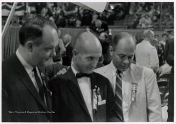 'Left to Right - Harold E. Neely, Senator John D. Hoblitzell, Jr. and Clarksburg lawyer, Republican State Chairman Daniel Laughery.
