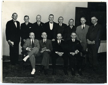Bottom row, left to right: Parrish, Hawcock, Dr. Hoge, Dr. Wade; Bottom row, left to right: Otey (Pres.), Mr. Claugherty, Foland, Ensly, Cheney, Clagett, Shott and Hoge.