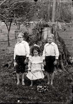 A portrait of two boys and a girl taken outdoor in front of a tree stump, Helvetia, W. Va.