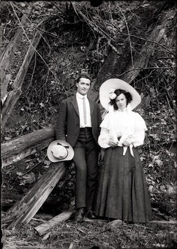 A portrait of a young couple, taken outdoors in Helvetia, W. Va.