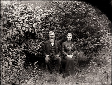A portrait of a seated couple taken outdoor in Helvetia, W. Va.