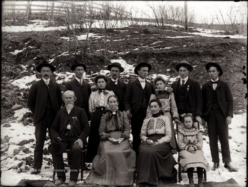 Seated left to right:  Gottlieb Farhner (born February 1839 in Zurich, Switzerland; died April 1915); Catherine Christine Lorenz Fahrner (born March 1852 in Wittenburg, Germany); Louisa; Anna.  Standing left to right: Gottlieb; Willie; Mary; Henry; Dan; Ruth; John; Ben.