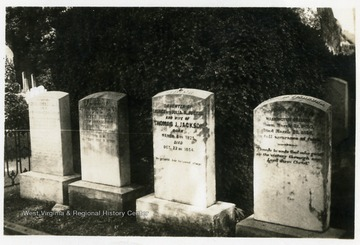 "The grave, third from the left is that of Elinor Junkin Jackson, General Thomas ""Stonewall"" Jackson's first wife. Elinor died in childbirth. The couples stillborn son is buried with her."