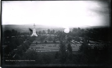 A view of Antietam, Soldiers' Monument taken from Tower of Cemetery, 5th view looking South; the photo taken on Tuesday at 5:50 pm; 155.91.D.I.C.