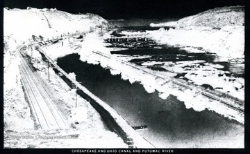 A view of the Canal in monochrome negative.