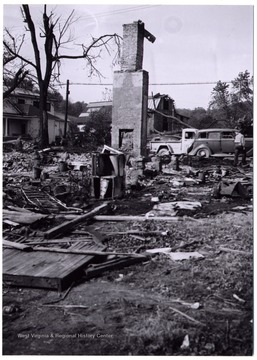Aftermath of the tornado of 1948 in Mount Clare, the hearth stands alone after the house is was destroyed.