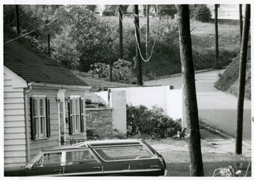Shown here is a garage damaged by the tornado of 1970; it is located at the bottom of Virginia and Worthington Avenue in Bridgeport, W. Va.