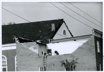 A Baptist church damaged after the 1970 tornado in Bridgeport, W. Va.