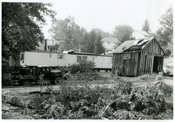 Broken branches and a damaged shed show the aftermath of tornado of 1970 on Water Street, Bridgeport, W. Va.