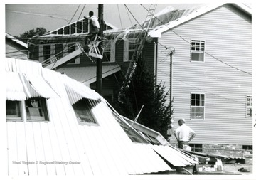 The Blake's Apartment damaged by tornado of 1970 at the bottom of Pennsylvania Avenue, Bridgeport, W. Va.