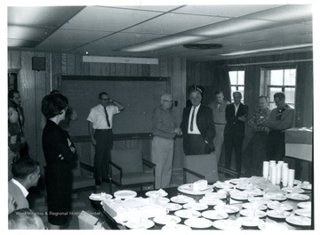 At Adamston Flat Glass, Clarksburg, W. Va., Russell Rice 5th from right; Joff Rolland 7th from right.