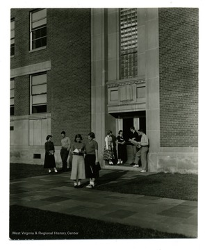 A front door view of Armstrong Hall.
