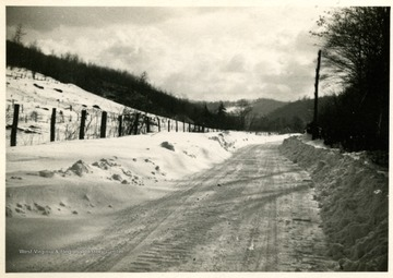 A snow covered Gauley River Road to Bergoo Mine #6 in Webster County.