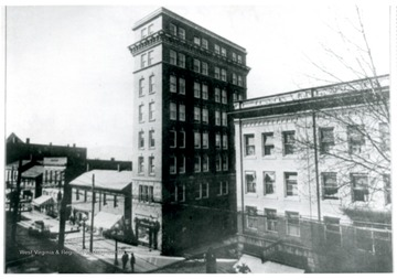A view of Union Utilities Building (left) on the corner of High Street and Fayette Street.