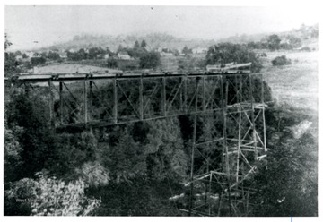 A bridge over the Deckers Creek; shown here is under construction.