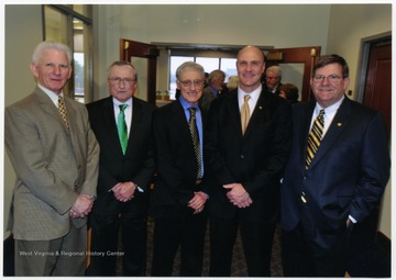 Left to right: Neil S. Bucklew, Gene Arthur Budig, Interim President Peter Magrath, James P. Clements, and David C. Hardesty, Jr.