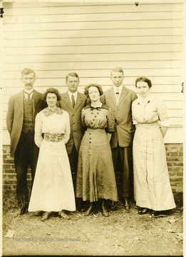 'Left front: Gertrude Hardway and possibly other teachers in Harrison or Randolph County.'