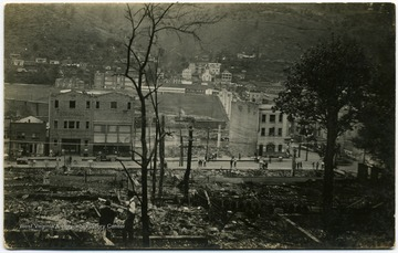 'Photo was taken from lower Oakland Ave. The back of the Richwood Banking and Trust Company and the side of the Nicholas Hardware and Furniture Company'.