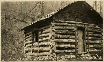 ' E. M. Bonner and Associates, Ranwood Lumber Company, Pickens, W. Va. Log Cabin used for many years as a school house.'
