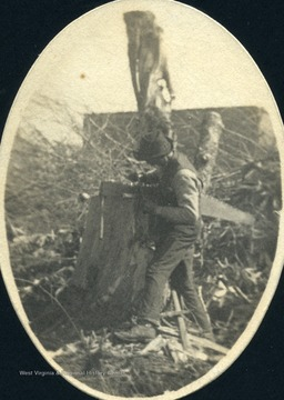 'Mr. Veach filing saw where he was clearing land about 1898 across River near Saw Mill of Blackwater Lumber Company, Davis, W. Va.'