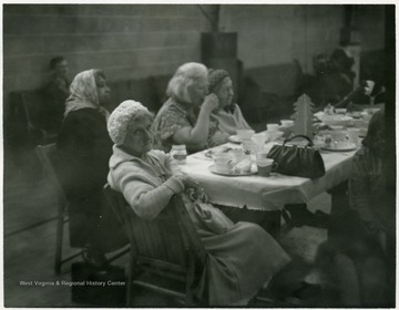 Woman facing camera is the oldest person at the dinner.