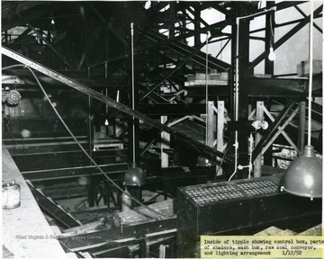 """Showing control box, parts of shakers, wash box, raw coal conveyor, and lighting arrangement."""