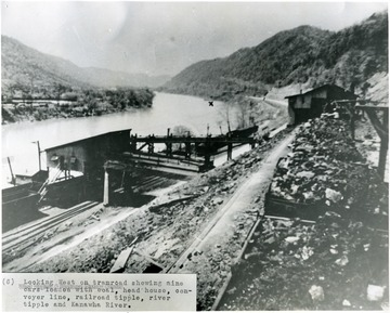 """Looking west on tramroad showing mine cars loaded with coal, head house, conveyor line, railroad tipple, river tipple and Kanawha River."""