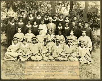 Storer College class of 1933 in caps and gowns in front of trees on campus. First Row: Jones, Scipio, Frazier, Carter, Beard, West, McDonald. Sexond Row: Boyd, Beard, Fletcher, Kent, Miss Maxson, Prs. McDonald, Arrington, Carroll, Arrington, DeLauter, Arms. Third Row: Henderson, Hudson, Dyer, Taylor, Brunswick, Brown, Marchal. Absent: Ross Fourth Row: Parrott, Sims, Napper, Morris, Bows, Galloway, Moorhead. Absent: Polk, Hill, King, Motley, Sinclair, Spencer.