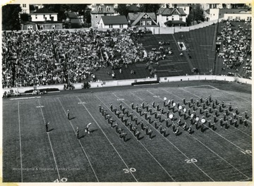 1955-1956 WVU Marching Band halftime field show.