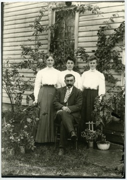 Left to right: Nellie Daetwyler Been, Emma Daetwyler Cutright, Lena Daetwyler Suesli--sisters, Emil Daetwyler.