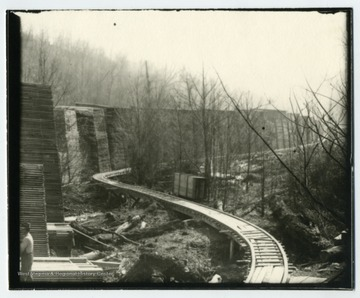 This shot shows the tramway as it was constructed to carry lumber to and from the lumber yard.