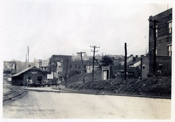 Looking N.E. - Garrett Street to Moore Street - Showing frontage of part of Hennen property - B.&O. lot and Lepera property