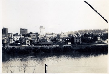 Looking S. W. from Monongahela River Bridge to B.&O. Depot and Hotel Morgan.