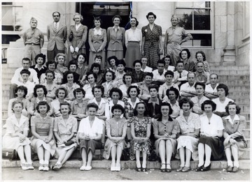 Cornelia Ladwig from West Virginia, bottom row 4th from right. Probably American U., D. C.