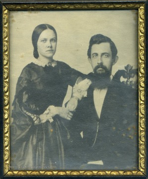 "The photograph was taken shortly after the couple were married in Baltimore. Anna Kennedy sympathized strongly with the South and John J. Davis, though voting against secession, turned ""copperhead"", fighting against both West Virginia Statehood and emancipation of the slaves. They had one son, John W. Davis."