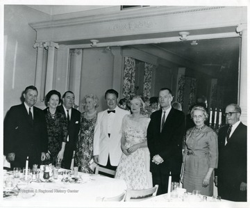 "Identified in photograph are third from left: Jennings Randolph; fourth from left: Julia Davis; fifth from left: Charles Wood (producer of ""The Anvil""); sixth from left: Mrs. Leeds Riley."