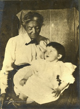 Grandmother, Mrs. John Thomas Gibson holding infant granddaughter, Frances Davenport Packette