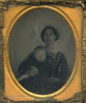 Cased portrait of Eliza Peters, wife of J. M. Byrnside, holding an unidentified small child.