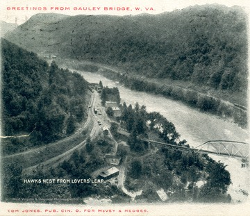 Post card print showing bridge crossing the New River.