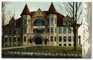 Color postcard print of the High School in Morgantown, Monongalia County, West Virginia.