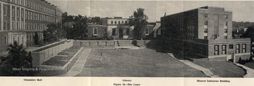 """The Court"" area is bordered by Chemistry Hall (now Clark Hall) on the left, Wise Library in the center and Mineral Industries Building (now White Hall) on the right."