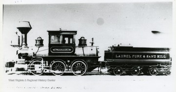 "Established in 1866. The route of the line ran from the Baltimore & Ohio's Parkersburg Branch, the Northwestern Virginia Railroad, north, east and west. In practice it went to the oilfield at Volcano and no farther. In the photograph, the name ""Maj. W. R. Sterling"" is written across the engine."