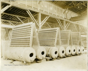Front Headers With Drum attached for Ward Water-tube boiler. Created by Charles Ward Engineering Works in Charleston, West Virginia.