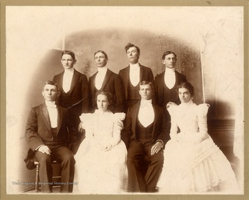 Artist Neta Blanche Lazzell from Maidsville, Monongalia County, West Virginia is seated front row, second from the left. Others identified, left to right, front row: Abner J. Asbill, Johnston,S. C.; Blanche Lazzell; unidentified student; Lillian Anderson, Hendersonville, S. C. Back Row: unidentified; J. L. Smith; unidentified; Simeon Smith.