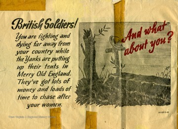 This leaflet was included in William Godfrey's post-war narrative documenting his service during World War II. Godfrey was a student at West Virginia University.