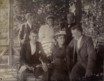 Identified: James Ewing, Lousie Underwell, Governor Fleming (back row, far right), Gypsy Fleming, Fay Hartley, Brad Clarkson.