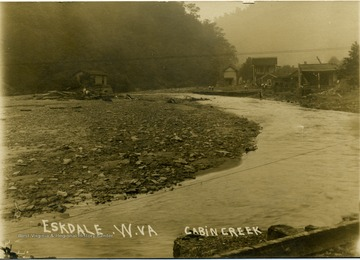 "Postcard photograph of Cabin Creek at low water level in Eskdale. Information on the back: "" Hinton Daily News Collection - John Faulkner Collection,  from Jim Pettrey to Stephen Trail 1997""."
