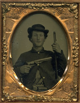 Harsh stood strongly with the Union during the Civil War in the midst of a Confederate stronghold in Barbour County. He served under Captain Michael T. Haller. This cased image of Harsh is possibly a ambrotype.