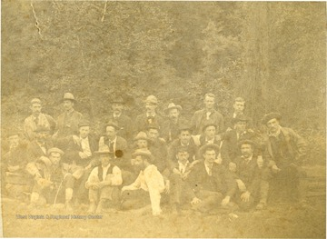 Group portrait of unidentified engineers, working on the Ohio Extension in Southern West Virginia.